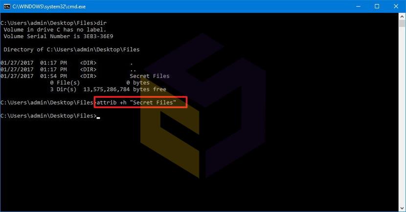 مخفی کردن فایلها و پوشهها با استفاده از Command Prompt