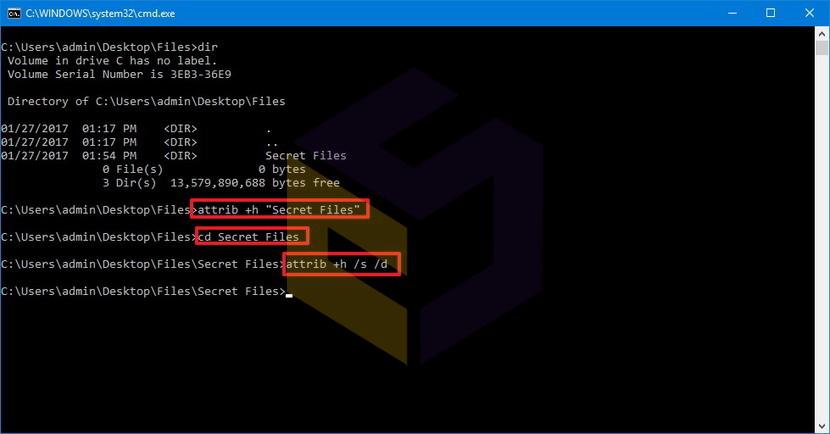 نمایش پوشههای مخفی با استفاده از Command Prompt