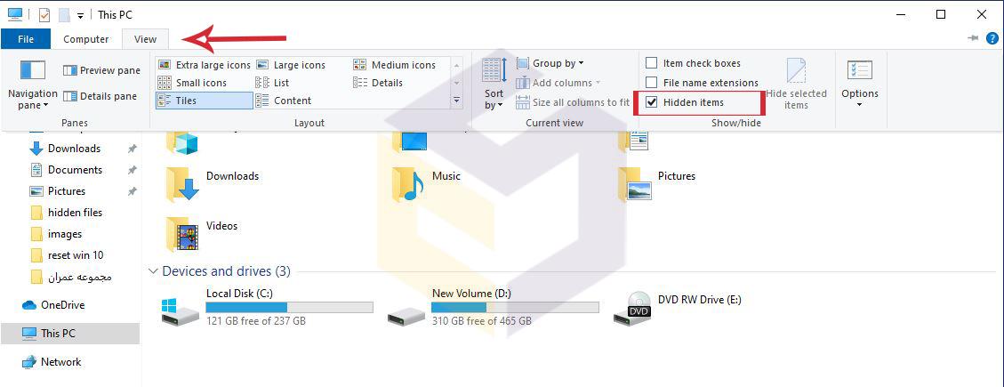 نحوه نمایش فایل های مخفی در ویندوز 10 با استفاده از File Explorer