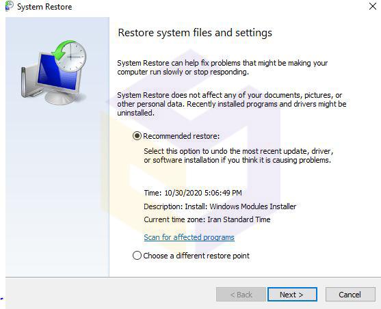 نحوه اجرا کردن system restore برای بازگشت به حالت اولیه