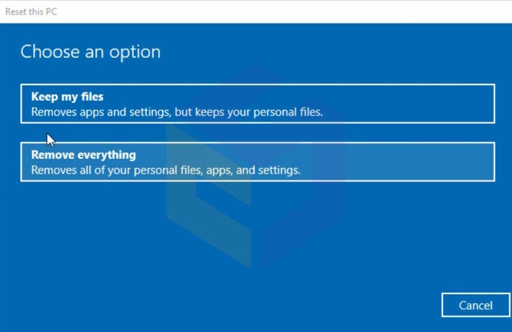 بازگردانی ویندوز به تنظیمات اولیه برای تعمیر فایل های خراب