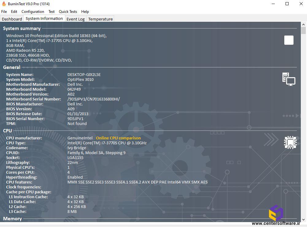 نمایش اطلاعات سخت افزاری کامپیوتر در زبانه System Information